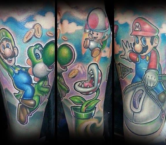 Leg Sleeve Guys Yoshi Super Mario Themed Tattoo