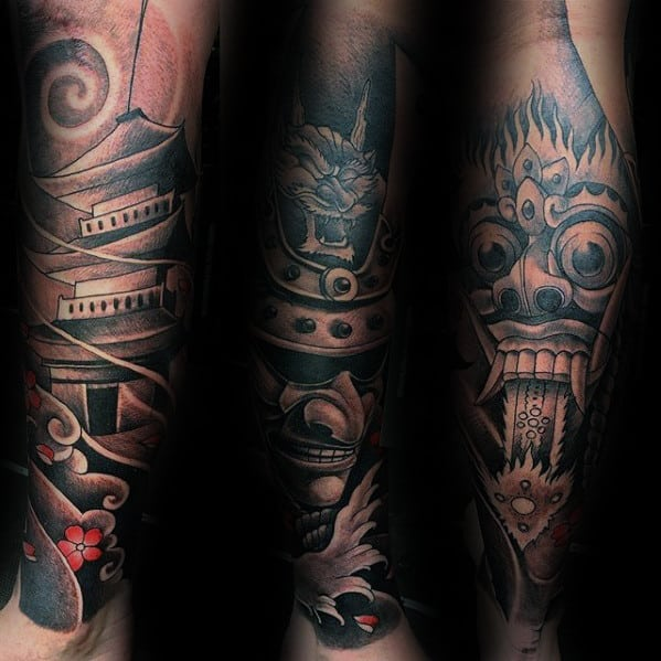 Leg Sleeve Japanese Demon Mask With Temple Guys Tattoo Ideas