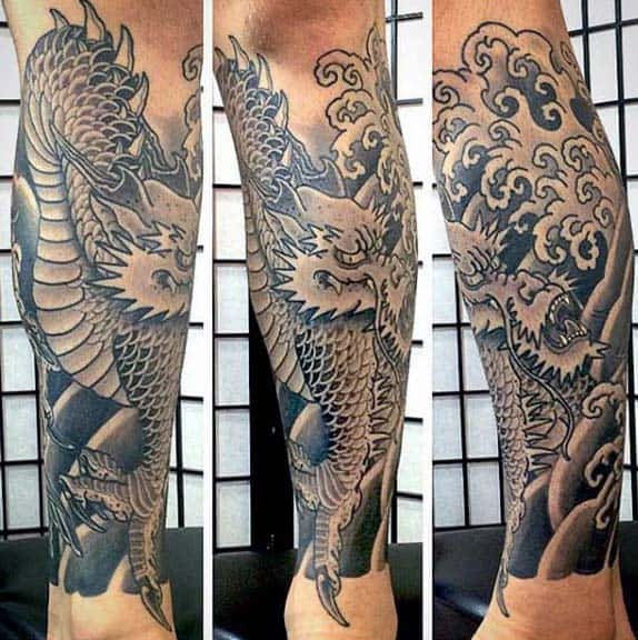 Leg Sleeve Japanese Dragon Ocean Waves Mens Tattoos