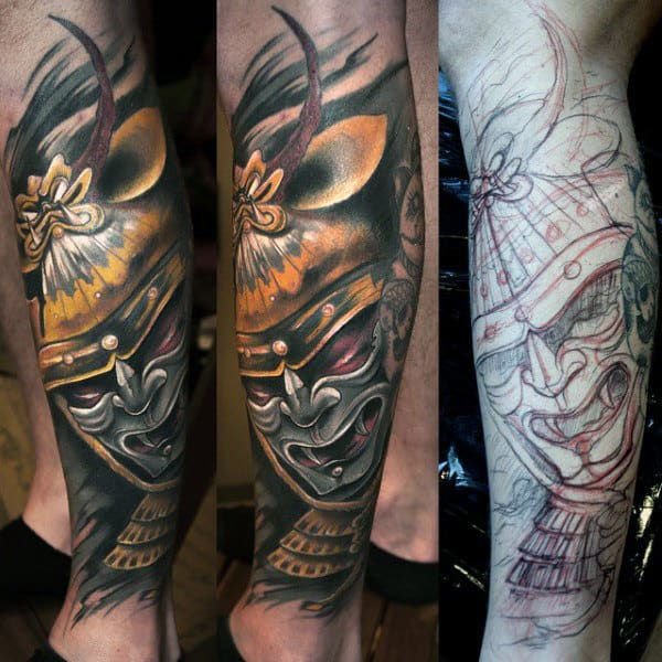 Leg Sleeve Japanese Samurai Tattoo For Men