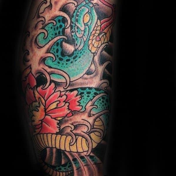 Leg Sleeve Japanese Snake Tattoo Ideas For Gentlemen