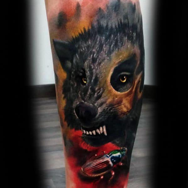 Leg Sleeve Male Cool Hyena Tattoo Ideas