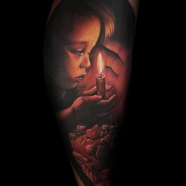 Leg Sleeve Male Portrait Tattoo Design Inspiration