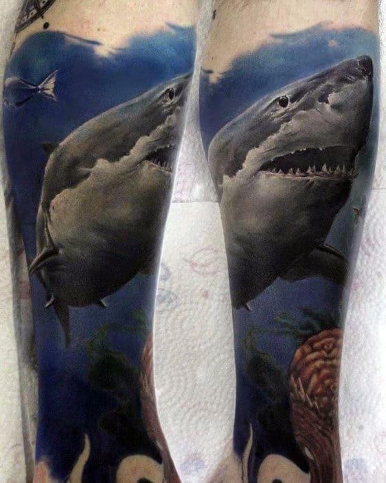 Leg Sleeve Male Shark Tattoo Design Ideas