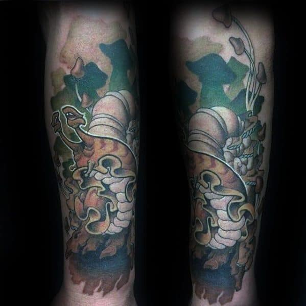 Leg Sleeve Male Tattoo With Snail Design
