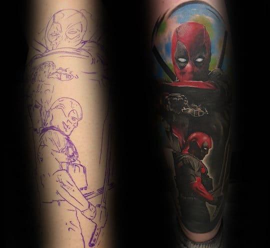 Leg Sleeve Manly Guys Deadpool Themed Tattoos