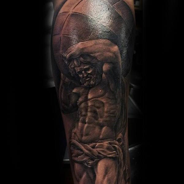 Leg Sleeve Mens Atlas Realistic Tattoos