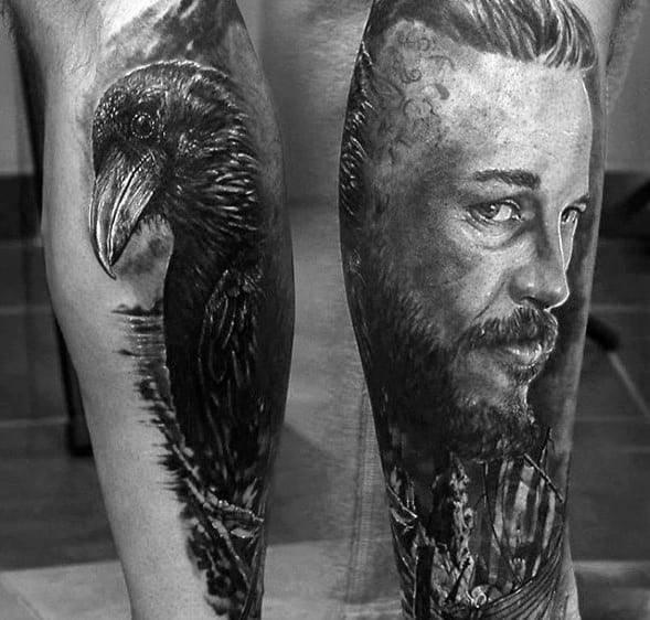 Leg Sleeve Mens Cool Ragnar Black Crow Tattoo Ideas