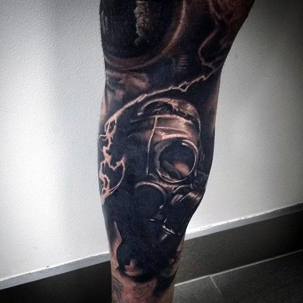 Leg Sleeve Mens Gas Mask Tattoo With Lightning Strike