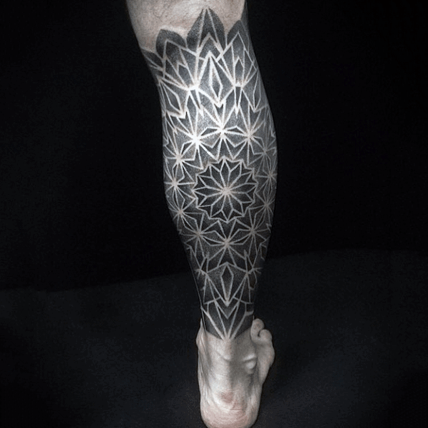 Leg Sleeve Mens Geometric Star Pattern Blackwork Tattoo