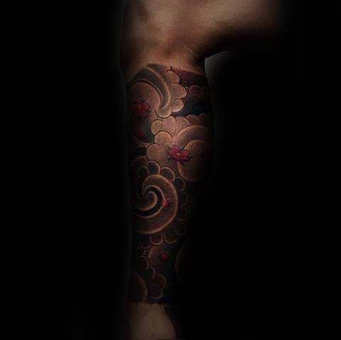 Leg Sleeve Mens Japanese Cloud Tattoo Design Ideas