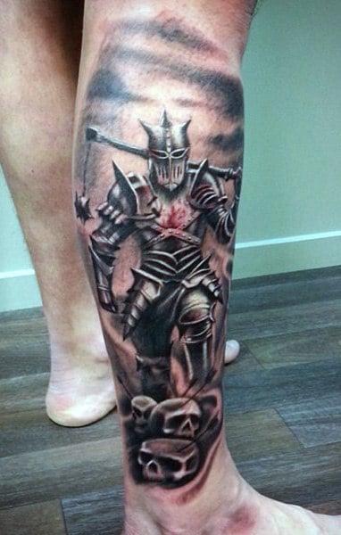Leg Sleeve Mens Knight Tattoo Designs