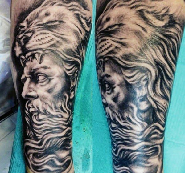 Leg Sleeve Mens Roman Hercules Tattoo