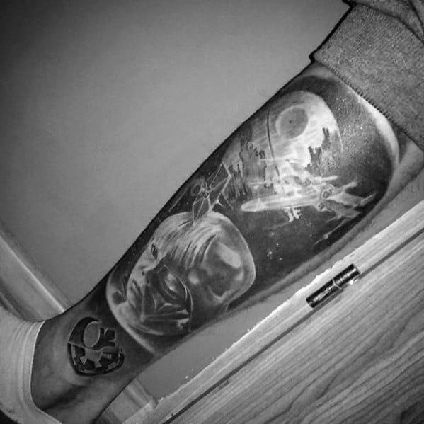 Leg Sleeve Mens Tattoo With Death Star Design