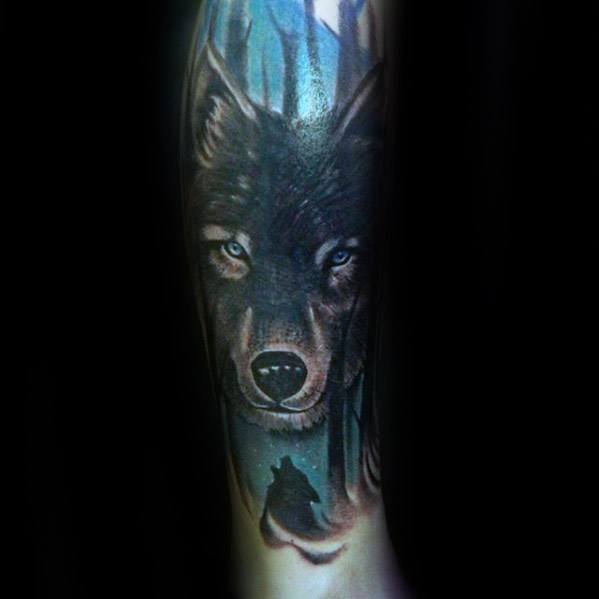 Leg Sleeve Mens Tattoo With Sick Wolf Design