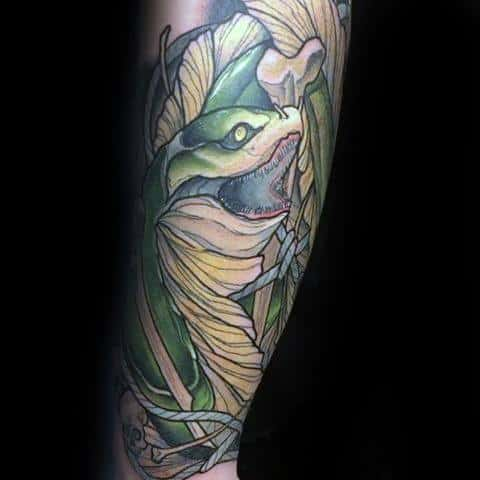 Leg Sleeve Neo Traditional Distinctive Male Eel Tattoo Designs