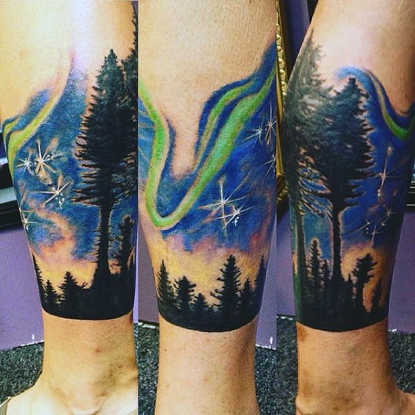Leg Sleeve Northern Lights Male Tattoo