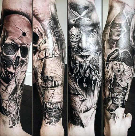 Leg Sleeve Pirate Ship Tattoo For Guys