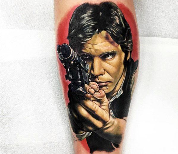 Leg Sleeve Realistic 3d Han Solo Mens Tattoo Ideas