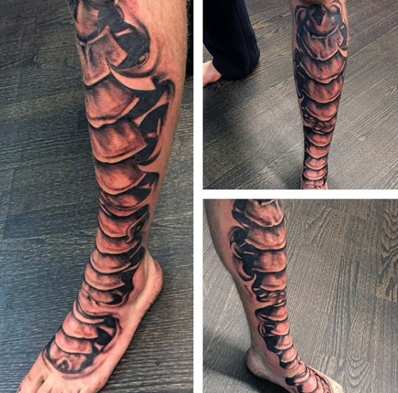 Leg Sleeve Spine Bone Tattoos Forguys