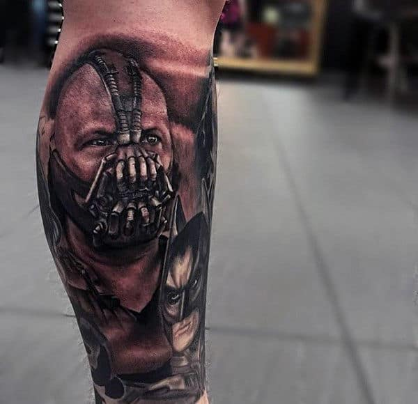 Leg Sleeve Tattoo With Bane And Batman For Guys