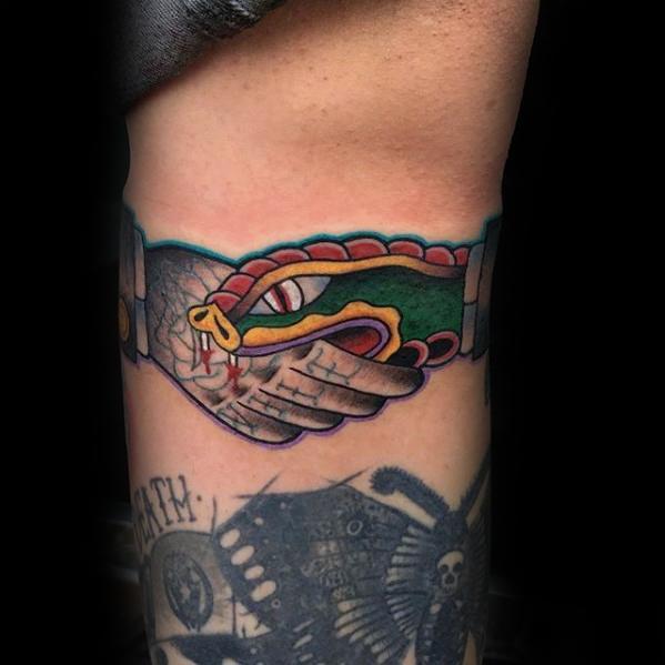 Leg Snake Biting Hand Handshake Guys Tattoo Designs