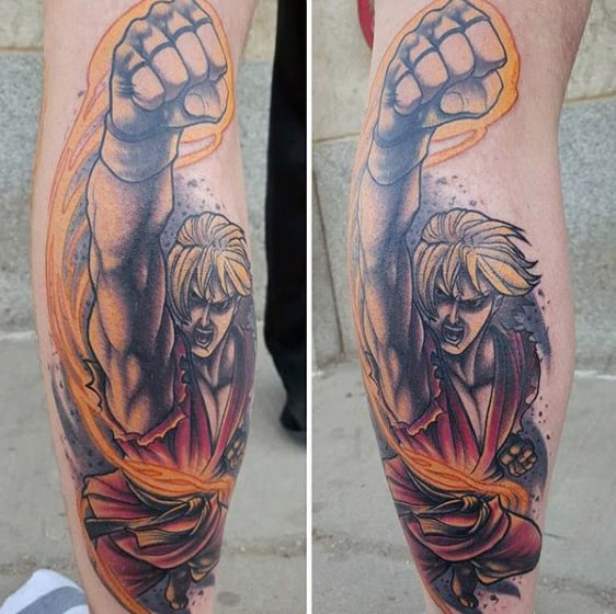 Leg Street Fighter Tattoo On Male