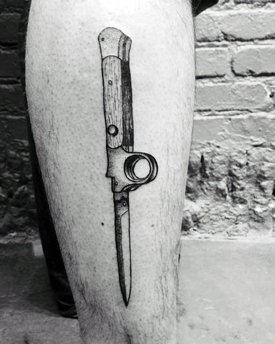 Leg Switchblade Tattoo Designs For Guys