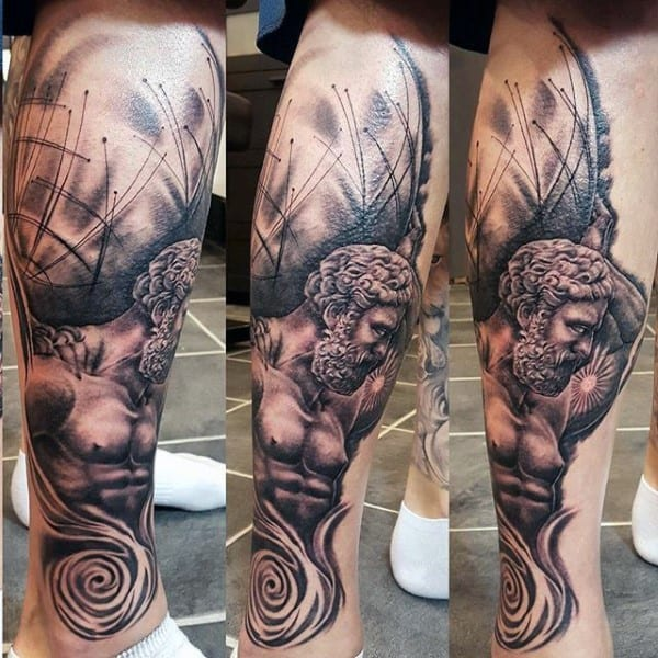 Leg Tattoo Of Atlas With Realistic 3d Design For Men