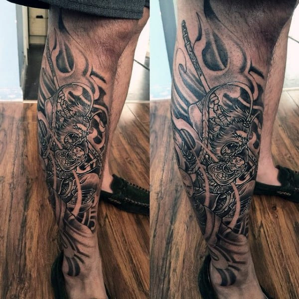 Leg Tattoo Of Monkey King On Man