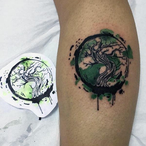 Leg Tattoo On Man Of Watercolor Bonsai Tree With Black And Green Ink