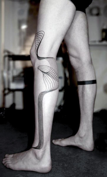 Leg Tattoos With Lines For Guys