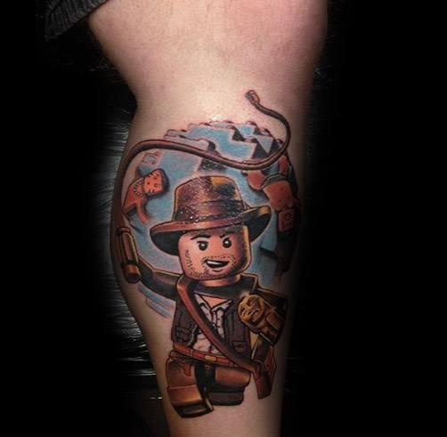 Leg Themed 3d Guys Tattoo Indiana Jones
