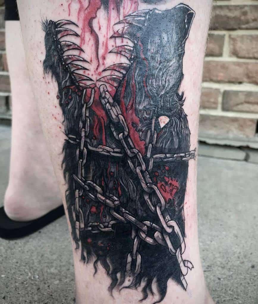 leg thigh Norse Wolf Tattoos sketit_tattoos
