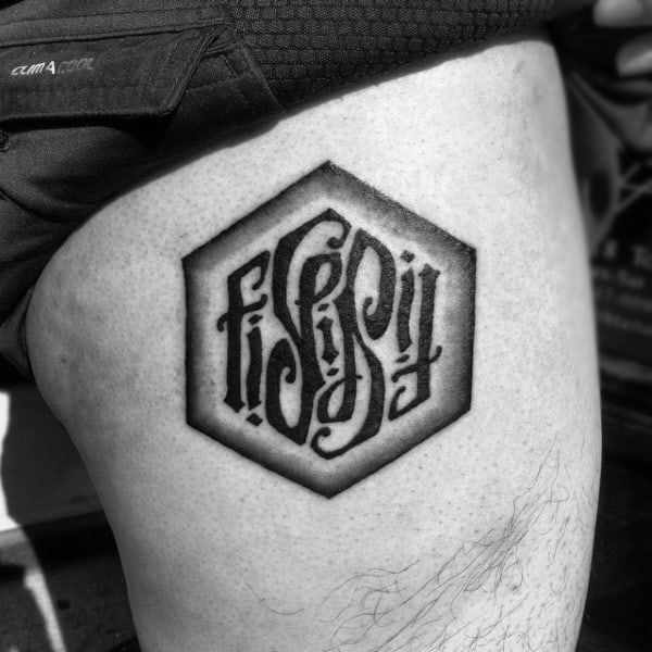 Leg Thigh Ambigram Male Tattoo Ideas