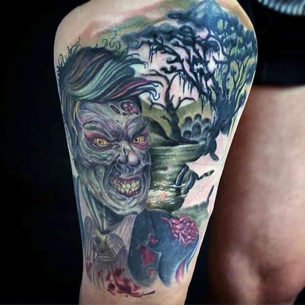Leg Thigh Guys Zombie In Woods Tattoo Design