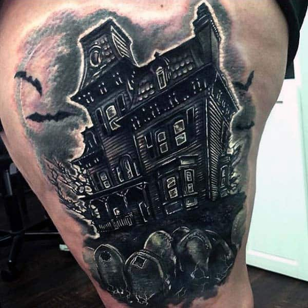 Leg Thigh Haunted House With Tombstones Tattoo