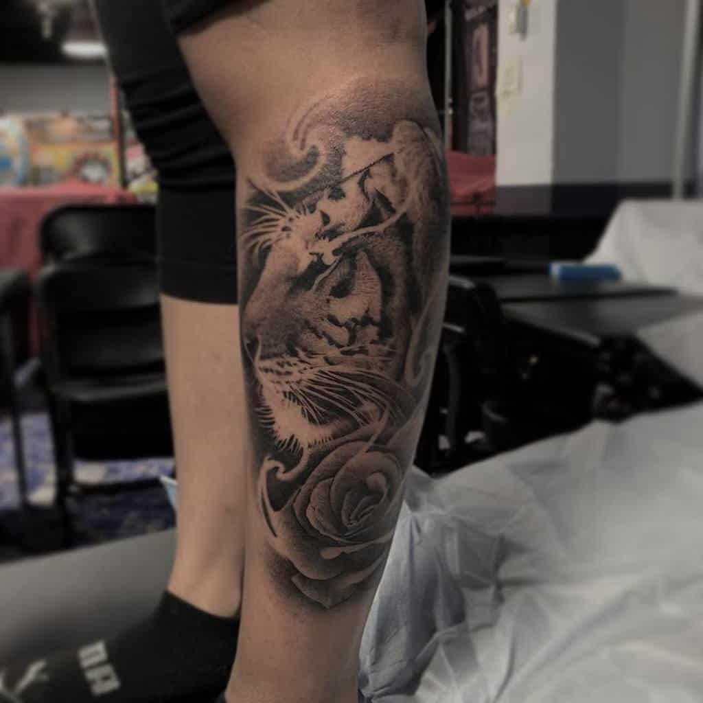 leg tiger rose tattoos inkdbywest
