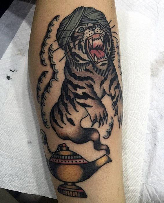 Leg Tiger With Genie Lamp Tattoo Designs For Guys