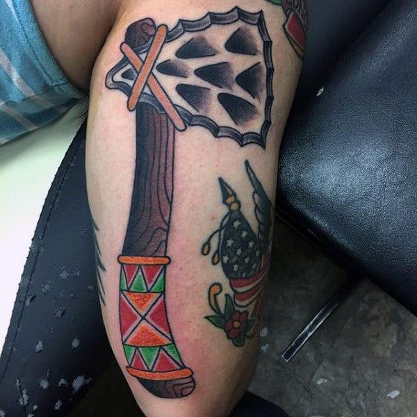 Leg Tomahawk Tattoo For Men
