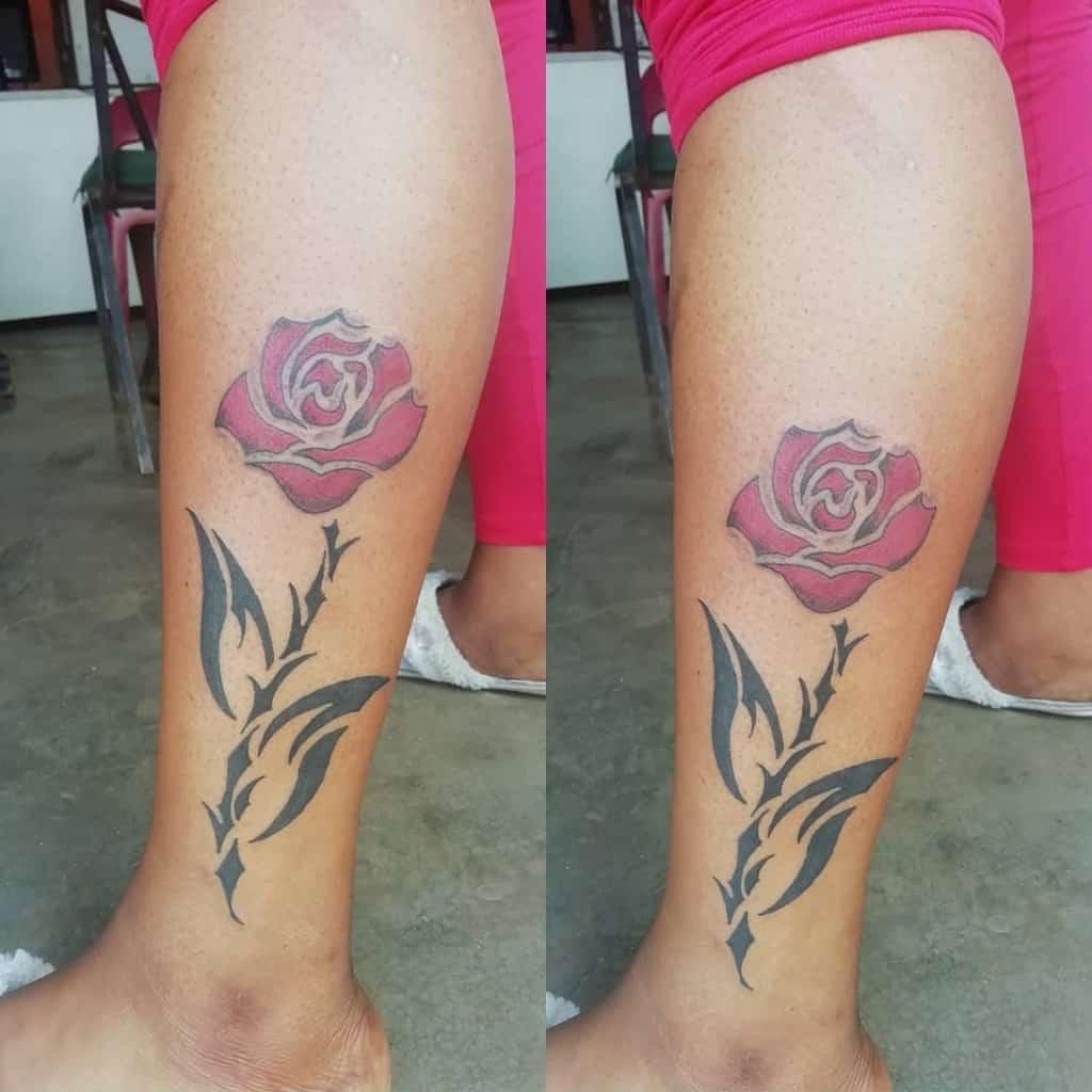 leg tribal rose tattoos ct_inkstudios