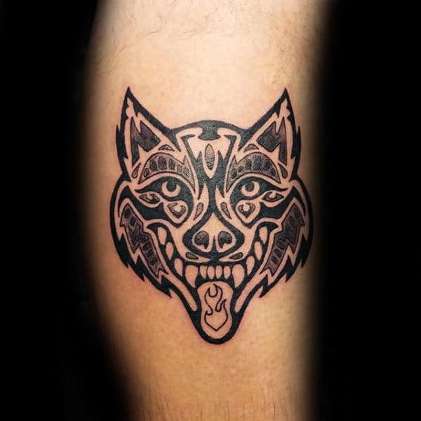 Leg Tribal Wolf Face Tattoo For Guys