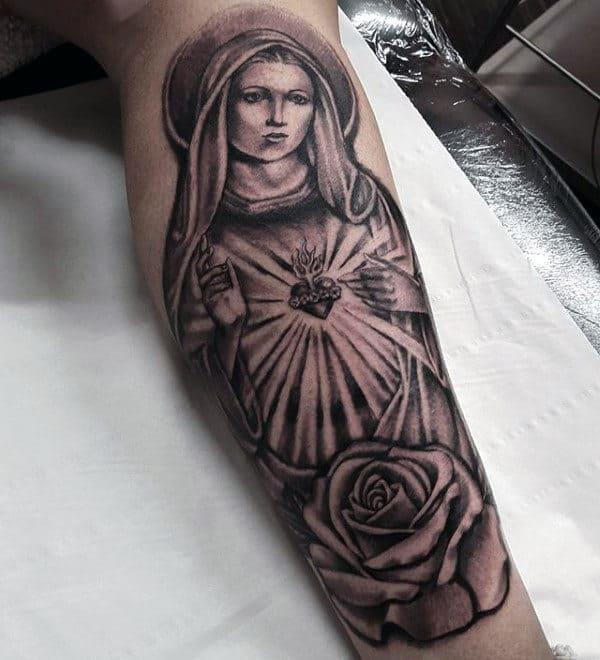 Leg Virgin Mary Christian Tattoo Ideas For Men