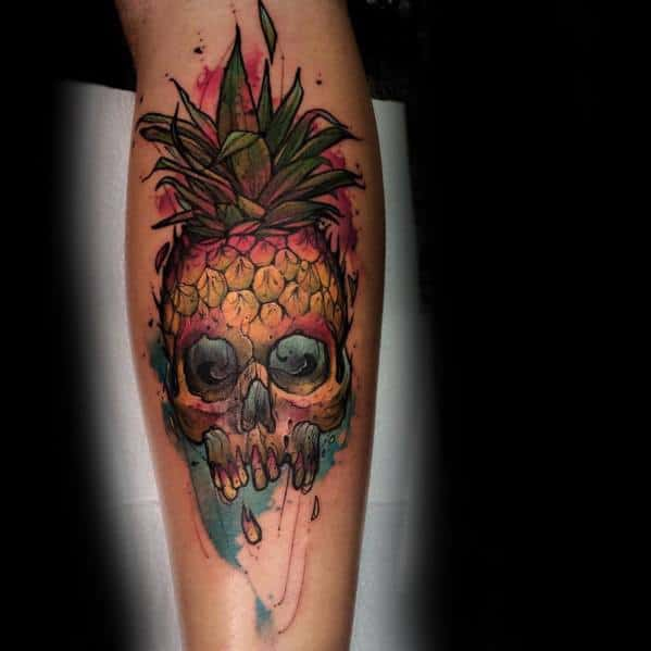 Leg Watercolor Guys Pineapple Tattoo