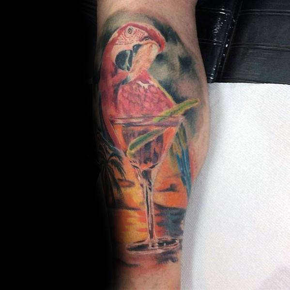 Leg Watercolor Shaded Parrot Male Tattoos