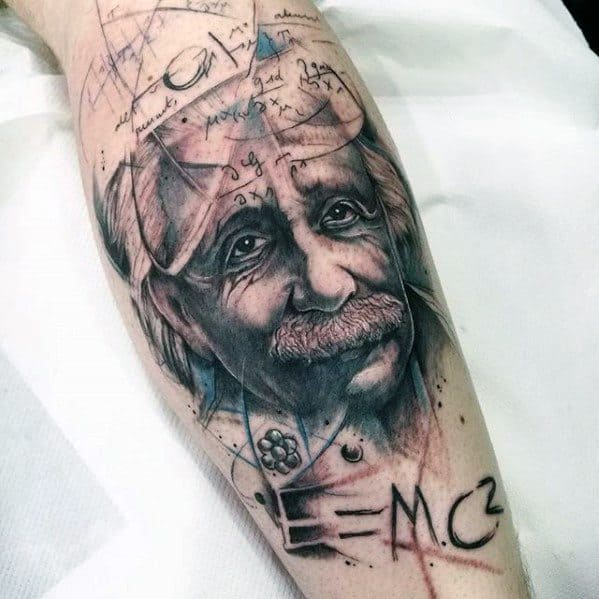 Leg Watercolor Sketched Albert Einstein Tattoos For Males