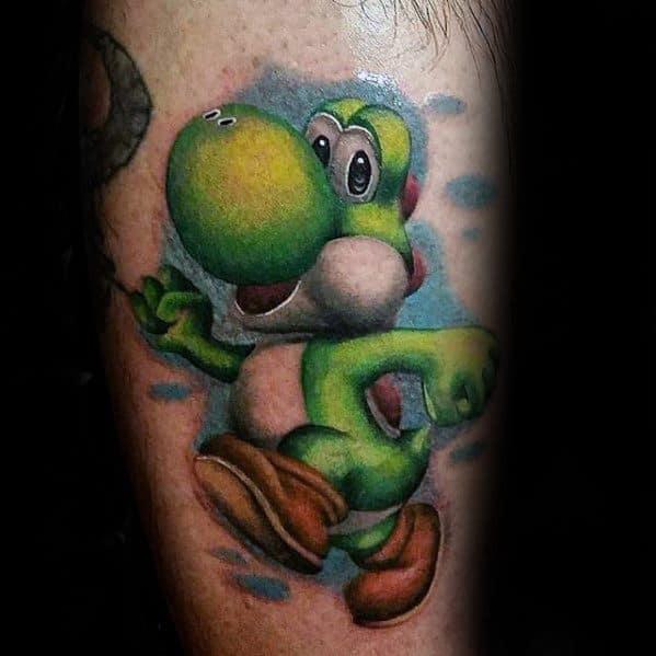 Leg Yoshi Tattoos For Males