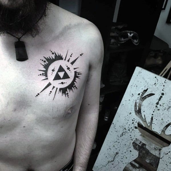 50 simple chest tattoos for men manly upper body design ideas. Black Bedroom Furniture Sets. Home Design Ideas