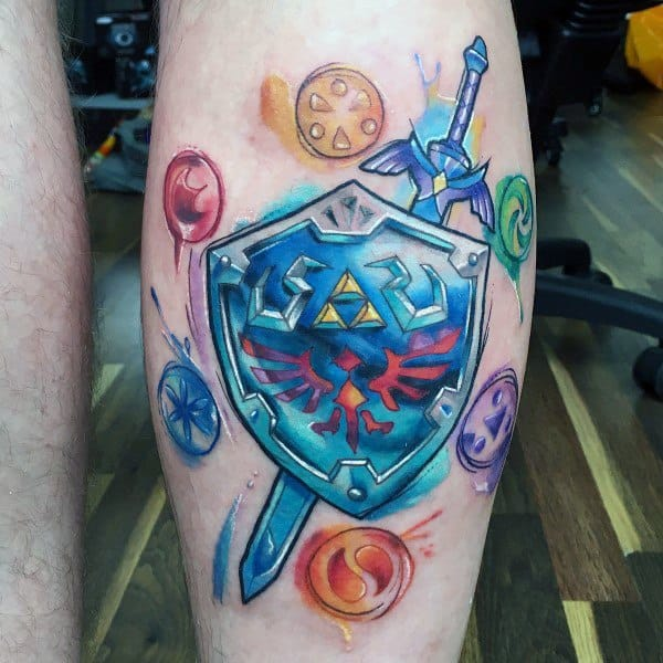 Legend Of Zelda Shield Male Tattoo On Leg Calf