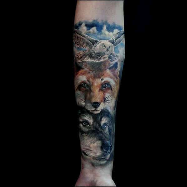 Legendary Pair Of Fox And Owl Tattoo Males Forearms